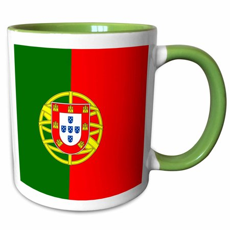 Shield Two Light (3dRose Flag of Portugal - Portuguese red and green with coat of arms shield - supporter fan country world - Two Tone Green Mug, 11-ounce)
