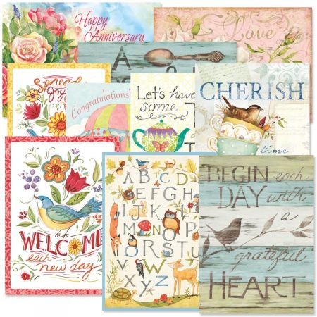 5 Pack Greeting Cards - Sentiments All Occasion Greeting Cards Value Pack - Set of 20 (10 designs), Large 5