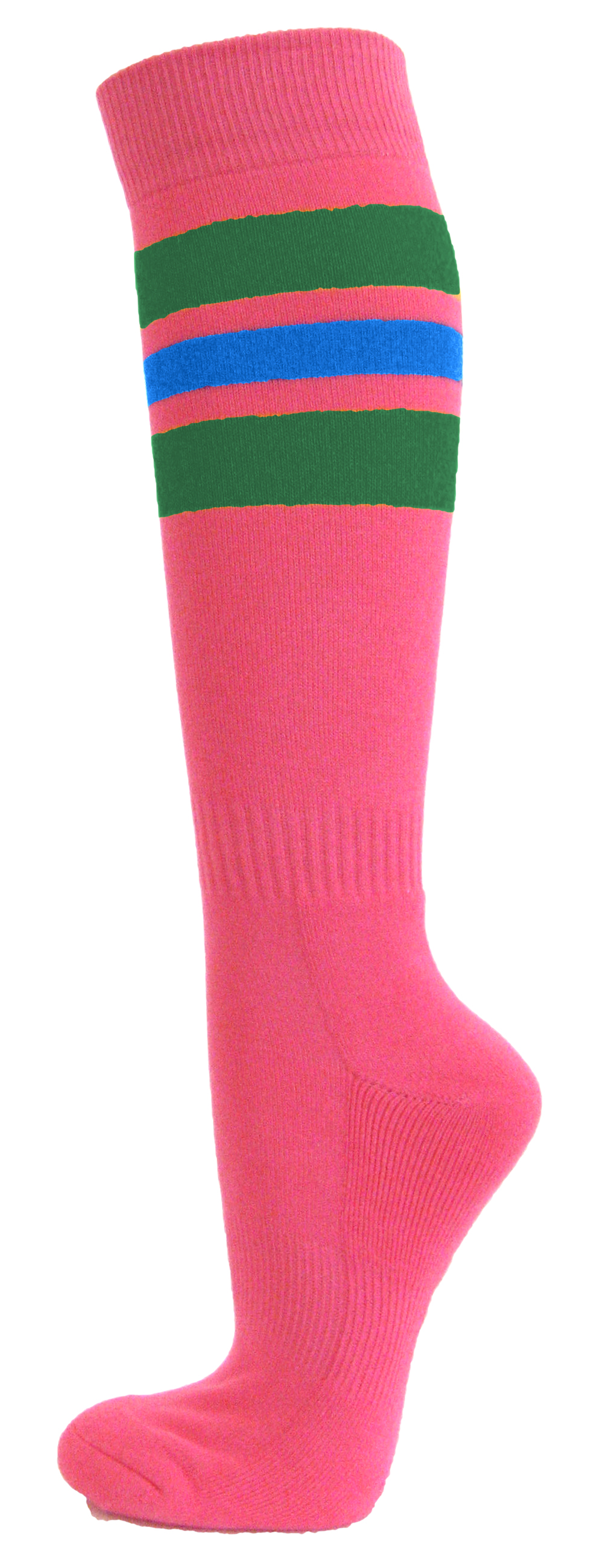 Couver Bright Pink Breast Cancer Awareness Strpied Athletic Tube Knee High  Socks, Green / Bright Blue Medium - Walmart.com