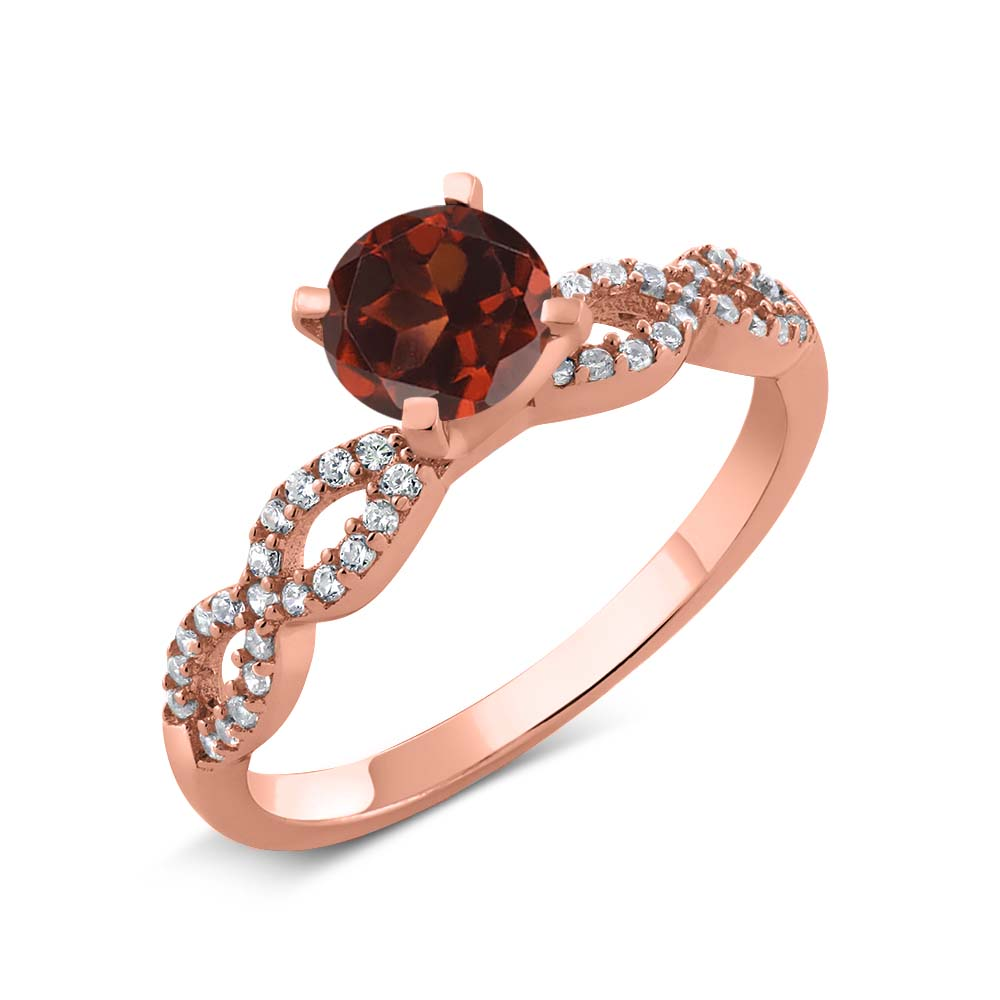 1.50 Ct Round Red Garnet 18K Rose Gold Plated Silver Engagement Ring