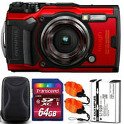 Olympus Tough TG:6 Digital Camera (Red) with 64GB Memory Card | Strap & Case