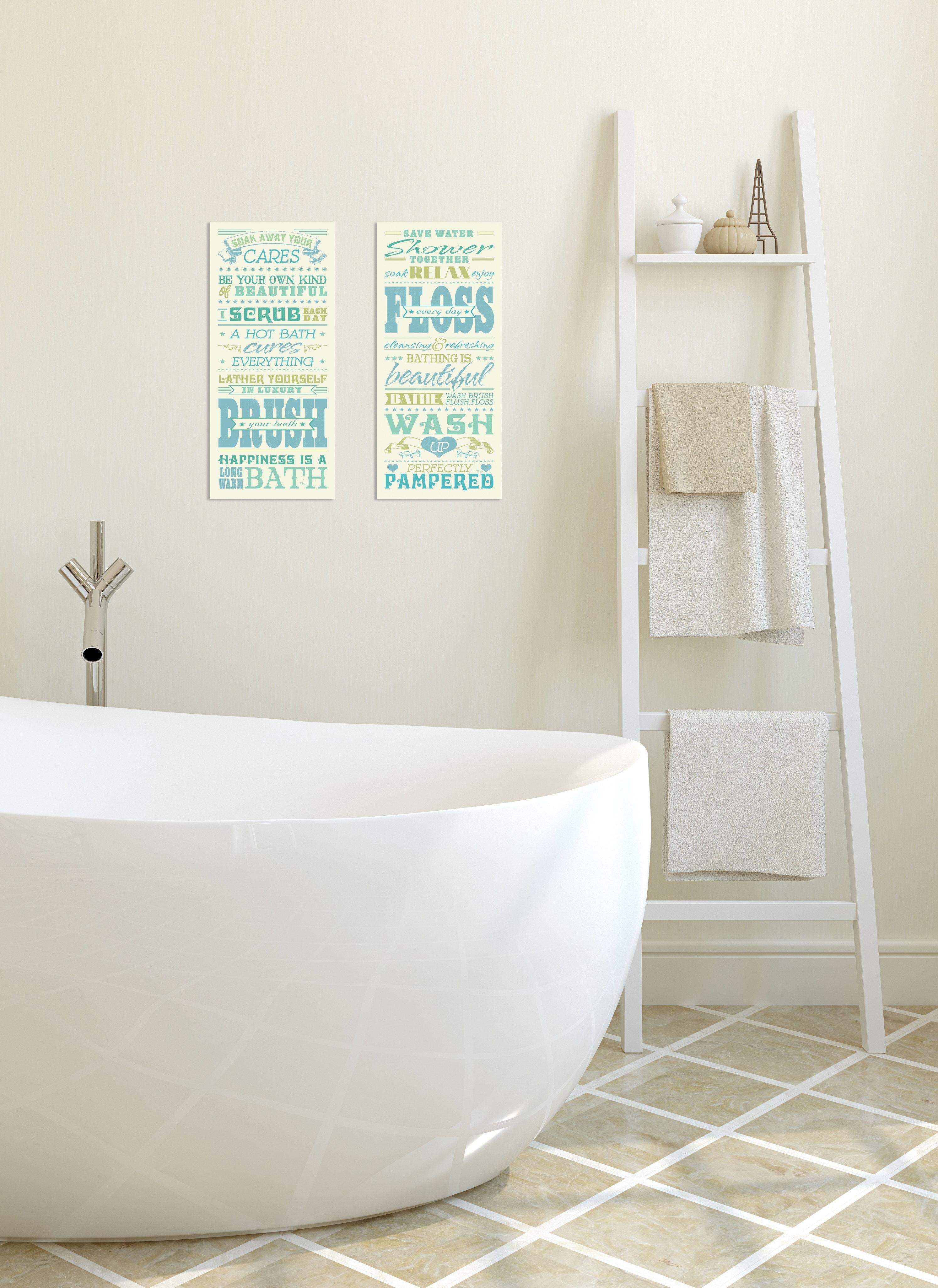 Gango Home Decor Bath Shower Rules Typography Bathroom Wall Art Two Blue 8x18in Unframed Paper Prints Walmart Com Walmart Com