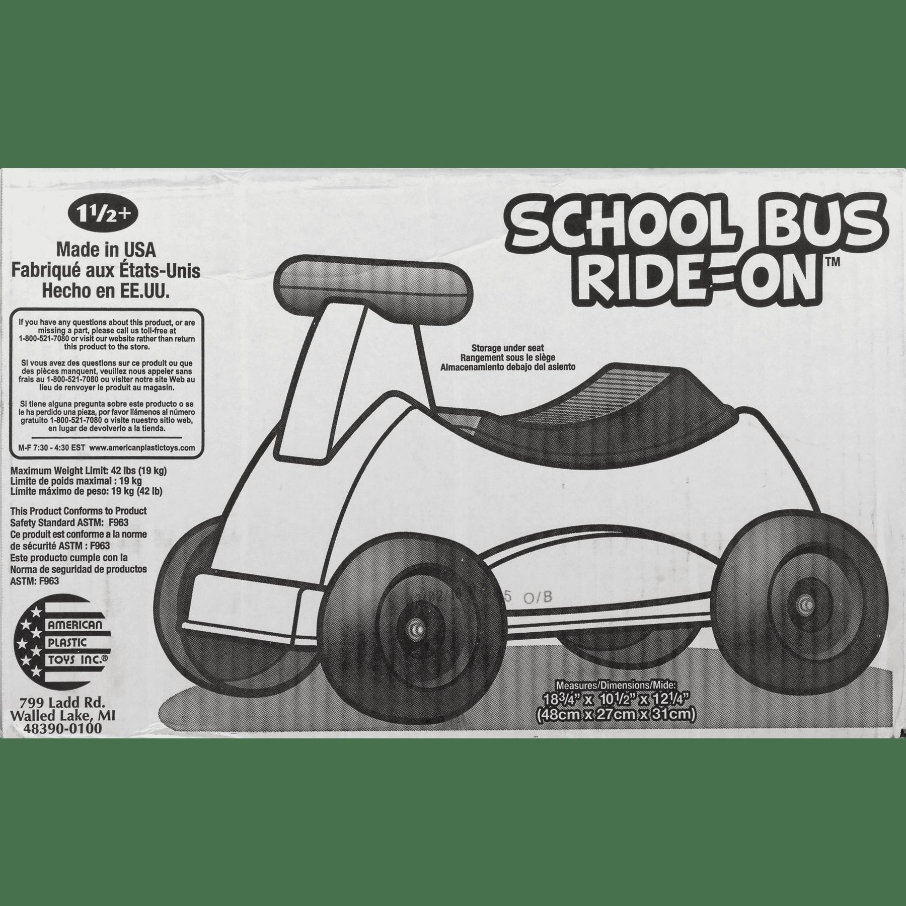 American Plastic Toy School Bus Ride-On, 1.0 CT - Walmart.com