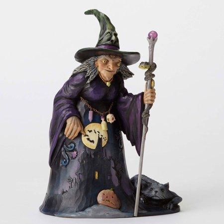 Jim Shore Heartwood Creek Witch with Haunted House Scene - Jim Shore Halloween Figurines