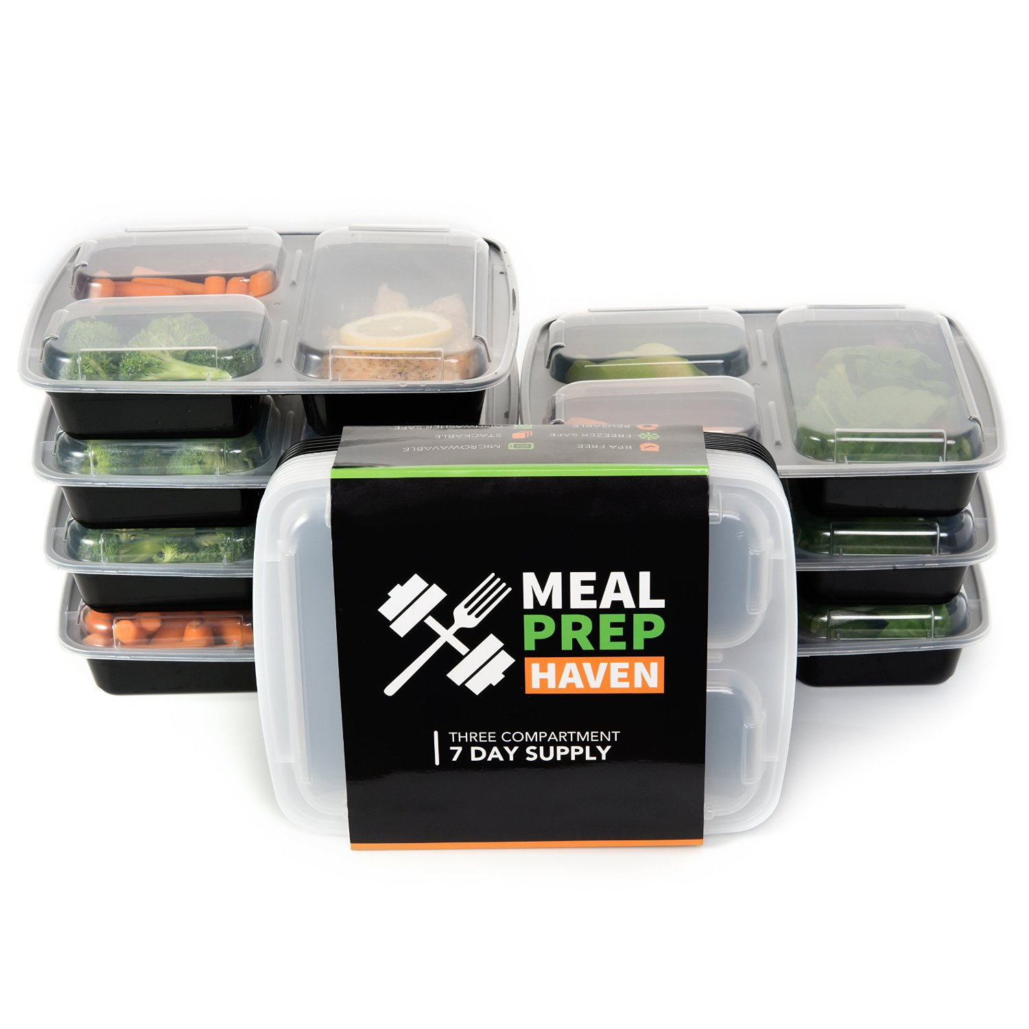 meal prep haven 3 compartment food storage containers with lids reusable microwave and dishwasher
