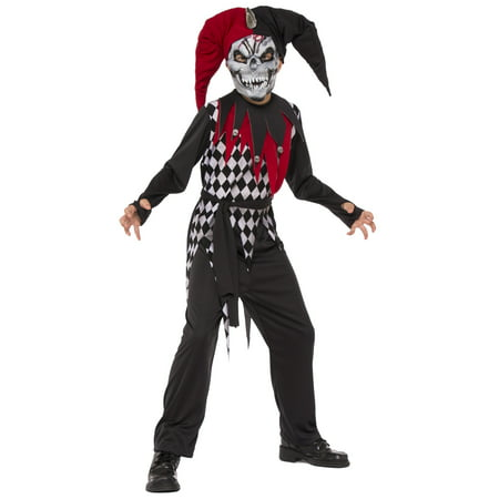 Evil Jester Boys Demon Evil Clown Child Red Black Halloween Costume - Clown Jumpsuit Costume