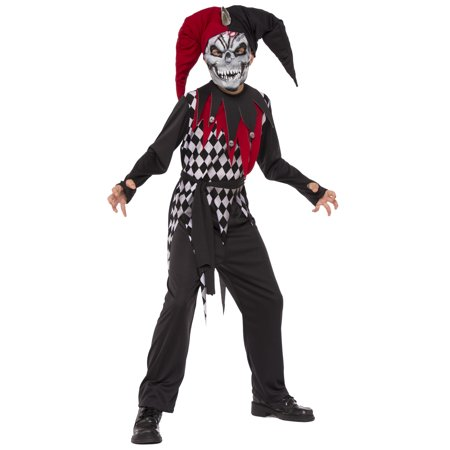 Saw Clown Costume (Evil Jester Boys Demon Evil Clown Child Red Black Halloween)