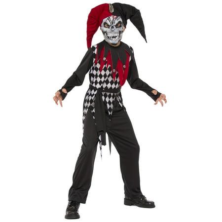 Evil Jester Boys Demon Evil Clown Child Red Black Halloween Costume