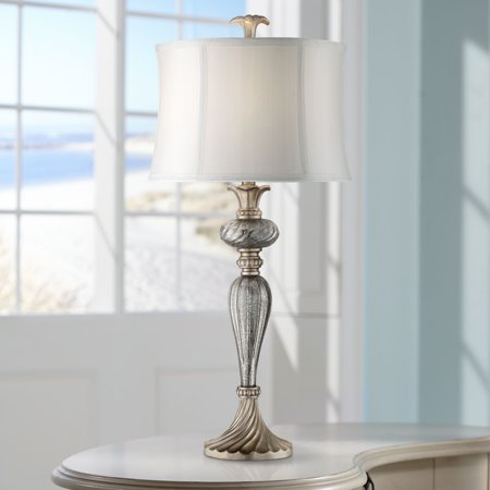 Regency Hill Traditional Table Lamp Mercury Glass Silver
