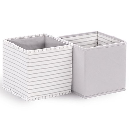 Baby Nursery Collapsible Storage Totes / Bins 2-Pack in Grey by The Peanut Shell