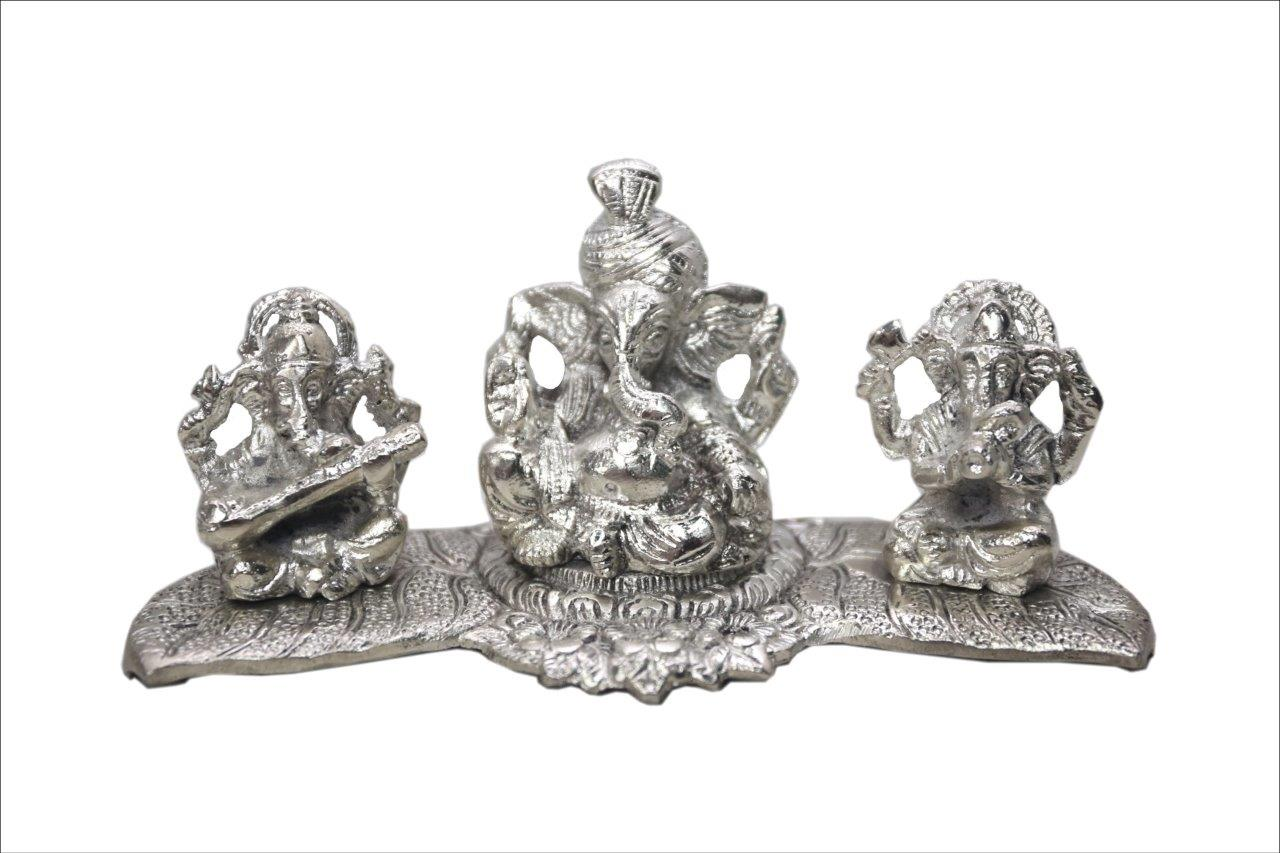 Lightahead 3 statues of Lord Ganesh on a feather in white metal statue of Hindu God. Great Diwali,Christmas gift