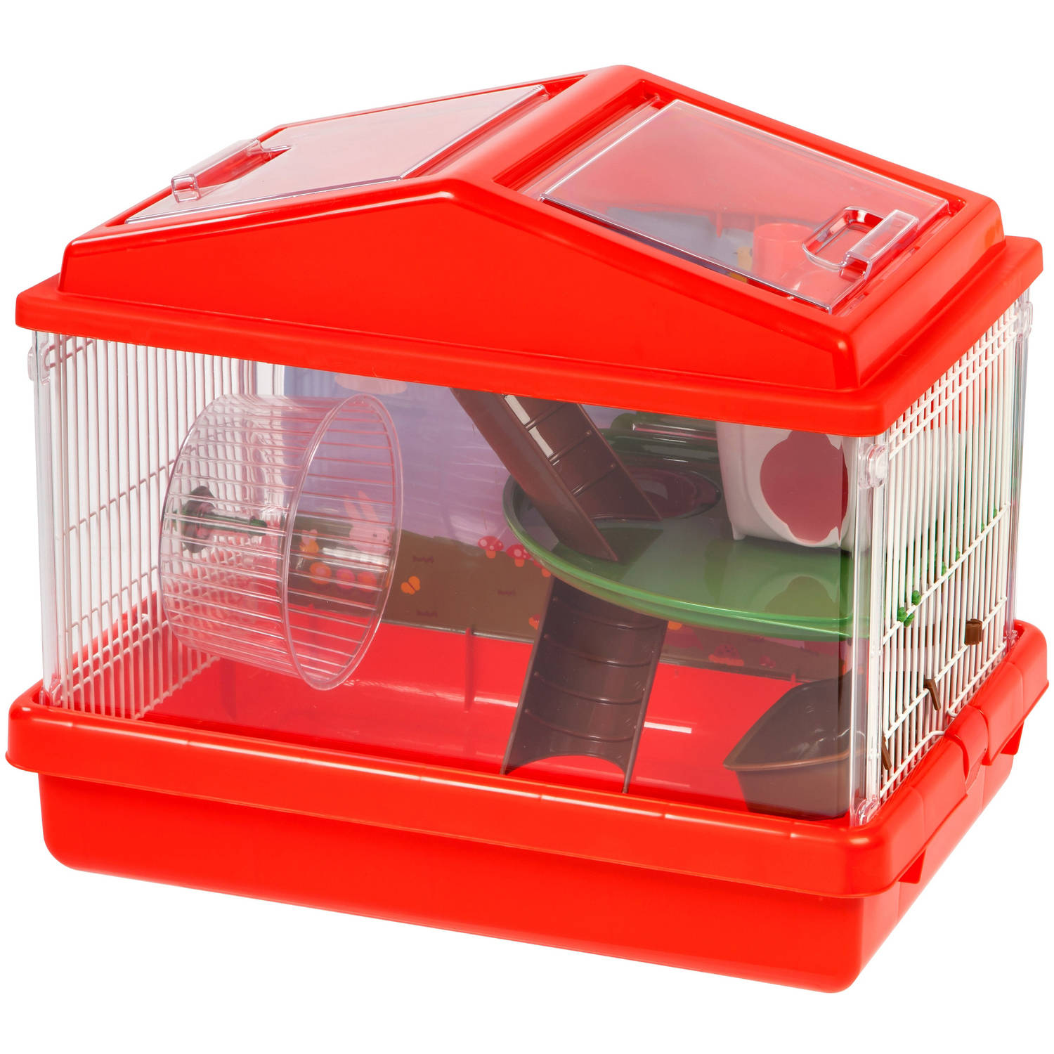IRIS 2-Tier Hamster Cage, Red