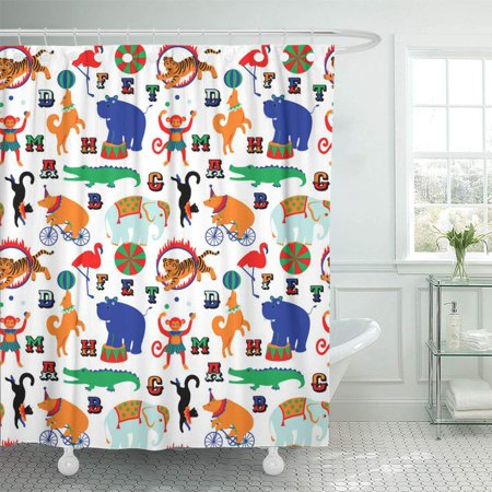 Balloon Gator (PKNMT Alligator Circus Cartoon Animals for Children Baby Ball Balloon Bear Behemoth Bathroom Shower Curtains 60x72)