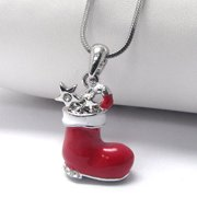 """Stuffed Christmas Stocking Pendant 17"""" White Gold Plated Snake Chain Necklace"""