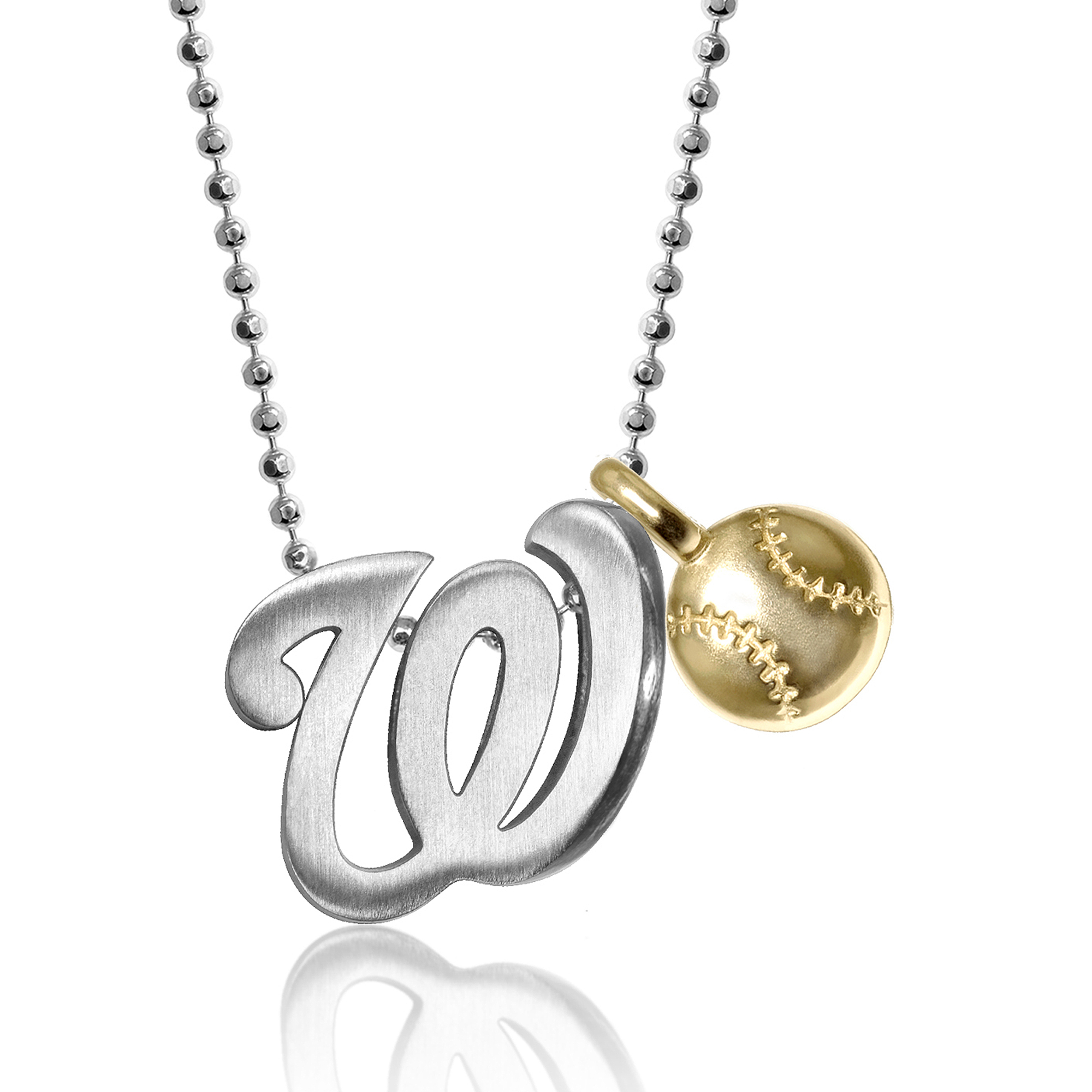 Washington Nationals Alex Woo Women's Little MLB Sterling Silver Necklace with Mini Gold Baseball Addition - No Size