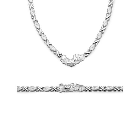 .925 Sterling Silver Stampato Xoxo Hugs and Kisses with Heart