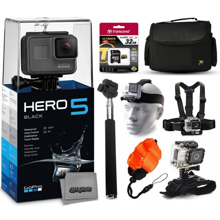 gopro hero5 black chdhx 501 with 32gb ultra memory large travel case head. Black Bedroom Furniture Sets. Home Design Ideas