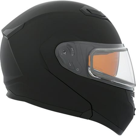 Black Winter Helmet (CKX Solid Flex RSV Modular Helmet, Winter Double Shield)