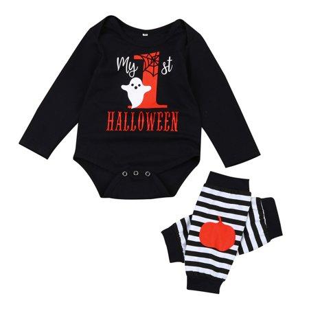mosunx baby boys girls halloween pumpkin long sleeve romper leg warmers outfit sets walmartcom