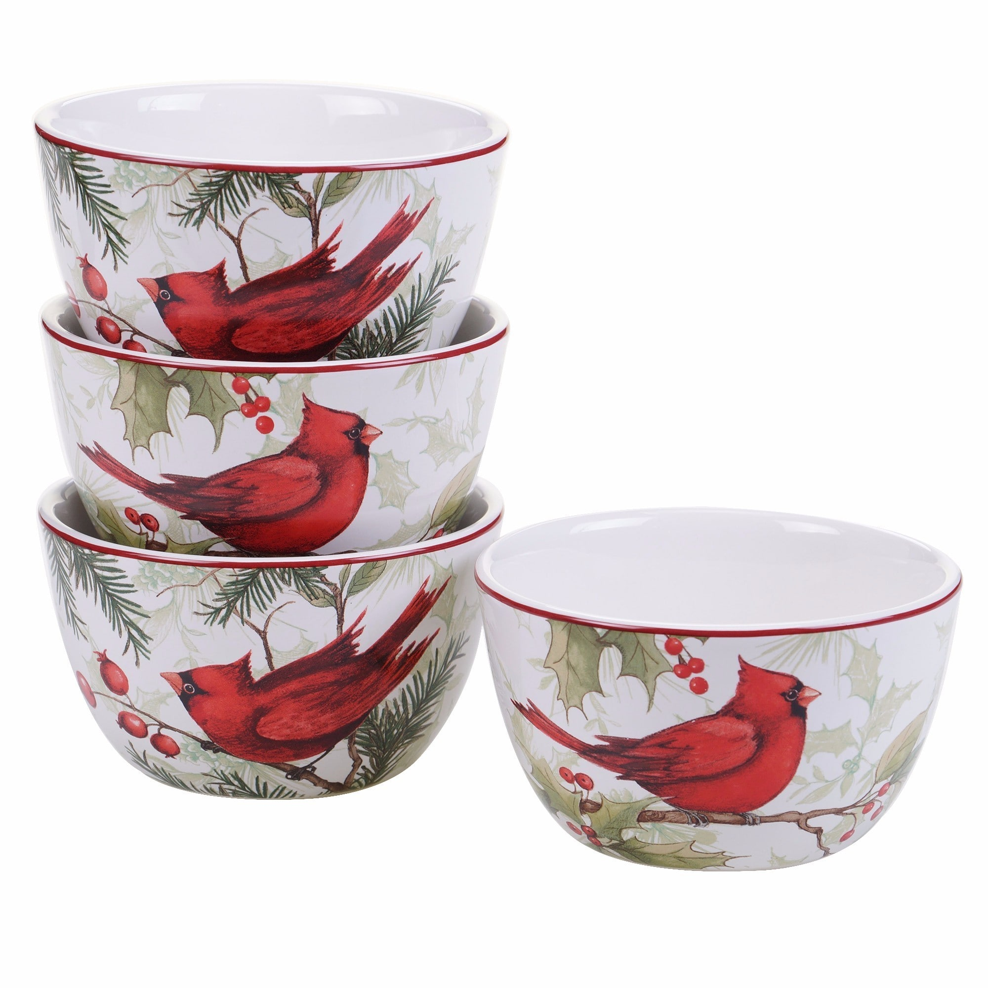 Certified International  Winter Field Notes Set of 4 Ice Cream Bowl