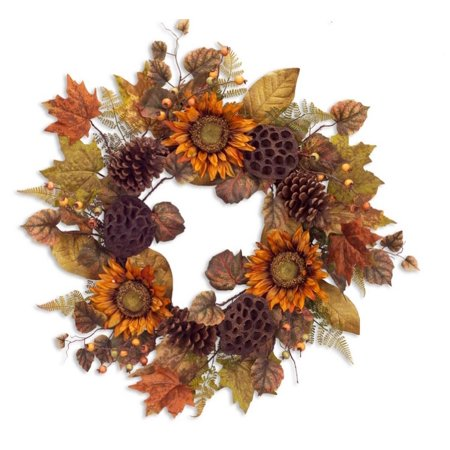 24  Autumn Harvest Orange And Brown Natural Sunflower Fall Foliage Artificial Thanksgiving Wreath