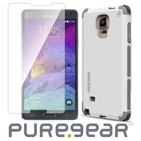 reputable site 9db46 0bc1b Note 4 Case/Glass Combo, PureGear [Arctic White] Dualtek Extreme Rugged  Case + Tempered Glass Screen Protector for Samsung Galaxy Note-4 (SM-N910)