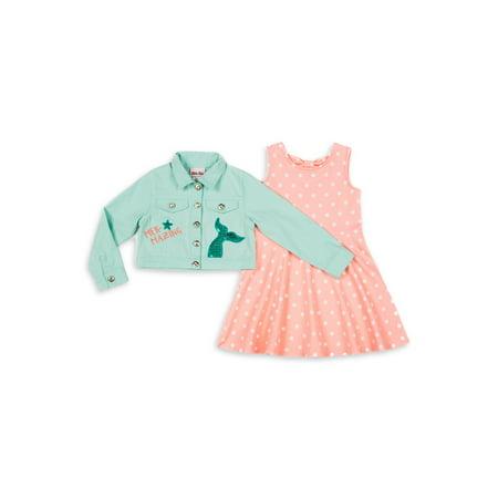 Little Lass Girls 4-6X Mermaid Twill Jacket and Polka Dot Dress, 2-Piece
