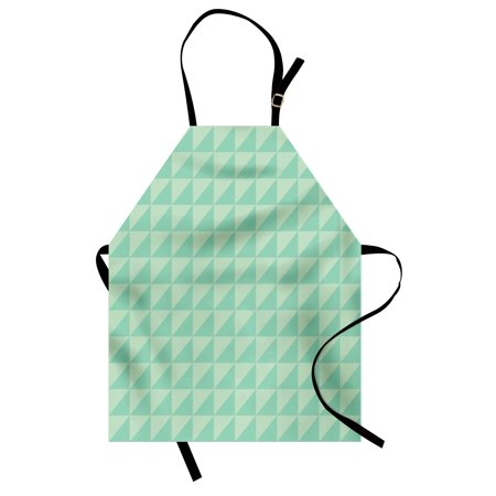 Mint Apron Symmetrical Half Cut Squares with Triangles Retro Style Checkered Pattern, Unisex Kitchen Bib Apron with Adjustable Neck for Cooking Baking Gardening, Mint and Almond Green, by Ambesonne