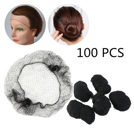 Elastic Edge Invisible Hair Nets for Girls and Women 100pcs (Black) (Invisible Net)
