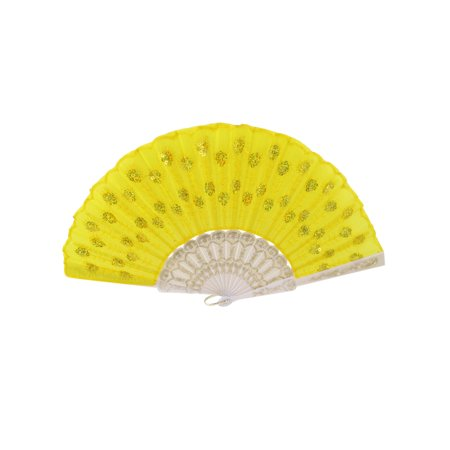 Hollow Out Plastic Carved Frame Sequins Decor Dancing Folding Hand Fan - Sequin Hand Fans