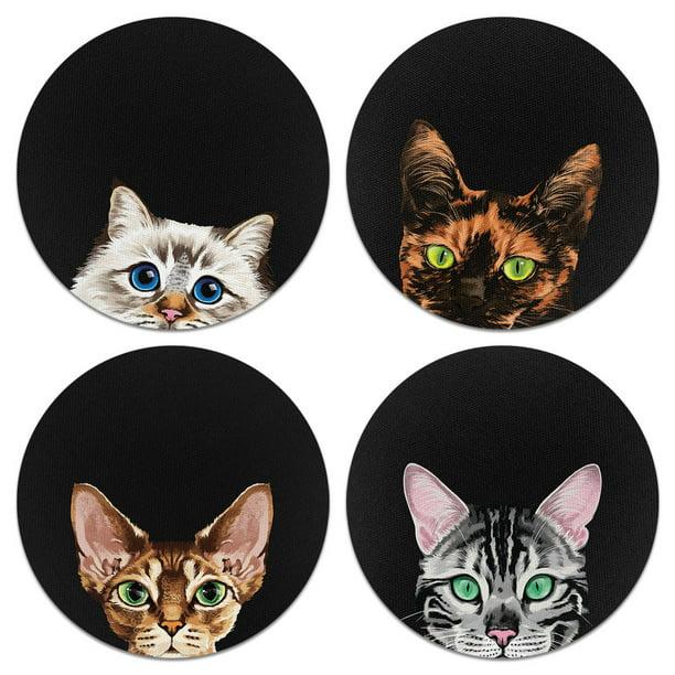 Caribou Drink Round Fabric Felt Neoprene Coasters Set Of 4pcs Black Orange Tortoiseshell Cat Spotted