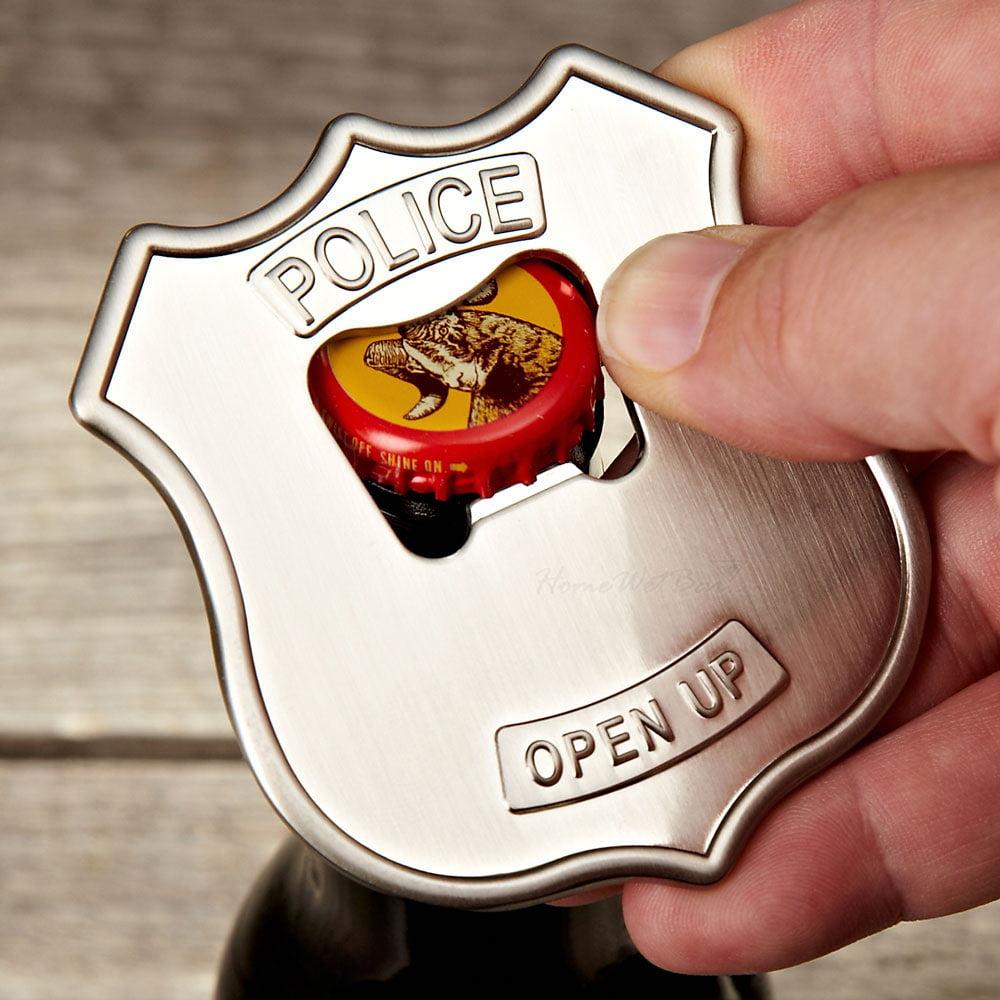 Open Up Police Badge Bottle Can Opener Steel Fun Parties Beer Cap Soda Bar Gift