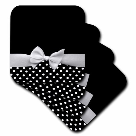 3dRose Cute fifties style black and white polka dot pattern with elegant sophisticated white ribbon bow - Ceramic Tile Coasters, set of 4