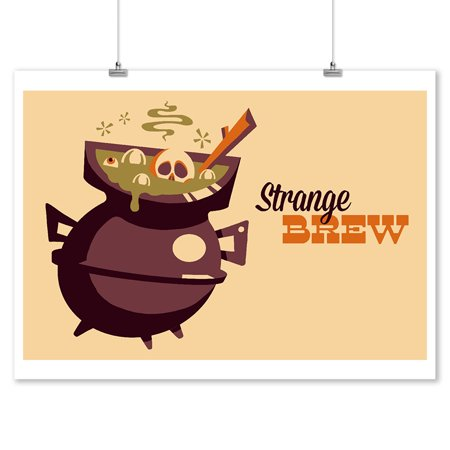 Strange Brew Cauldron - Retro Halloween - Lantern Press Artwork (9x12 Art Print, Wall Decor Travel Poster) - Halloween Artwork Preschool