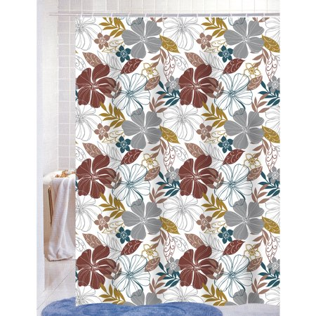 Mia PEVA Vinyl 70x72 Shower Curtain With Matching Metal Hooks Floral Print