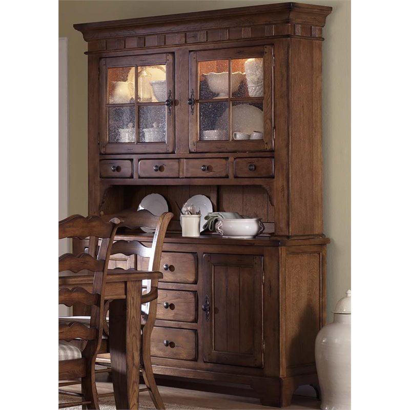 Liberty Furniture Treasures China Cabinet in Rustic Oak by