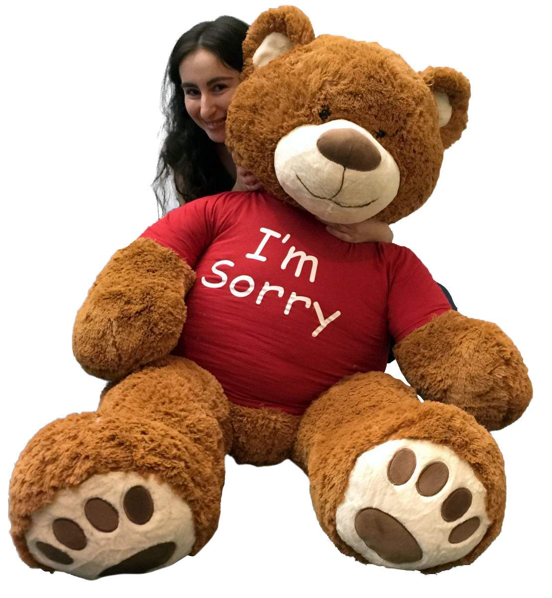 5 Foot Giant Teddy Bear 60 Inches Soft Cinnamon Brown Color Wears I'M SORRY T-shirt by BigPlush