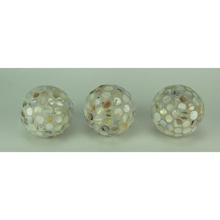 Set Of 3 Pearlescent Mosaic Seashell Decorative Balls