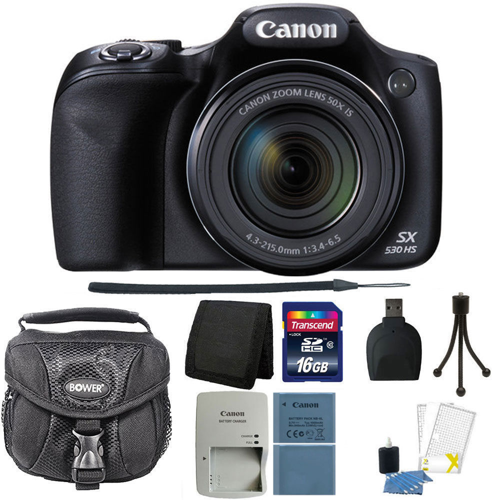 Canon PowerShot SX530 HS 16MP Wi-Fi Digital Camera Black + Top Accessory Kit and Additional Battery