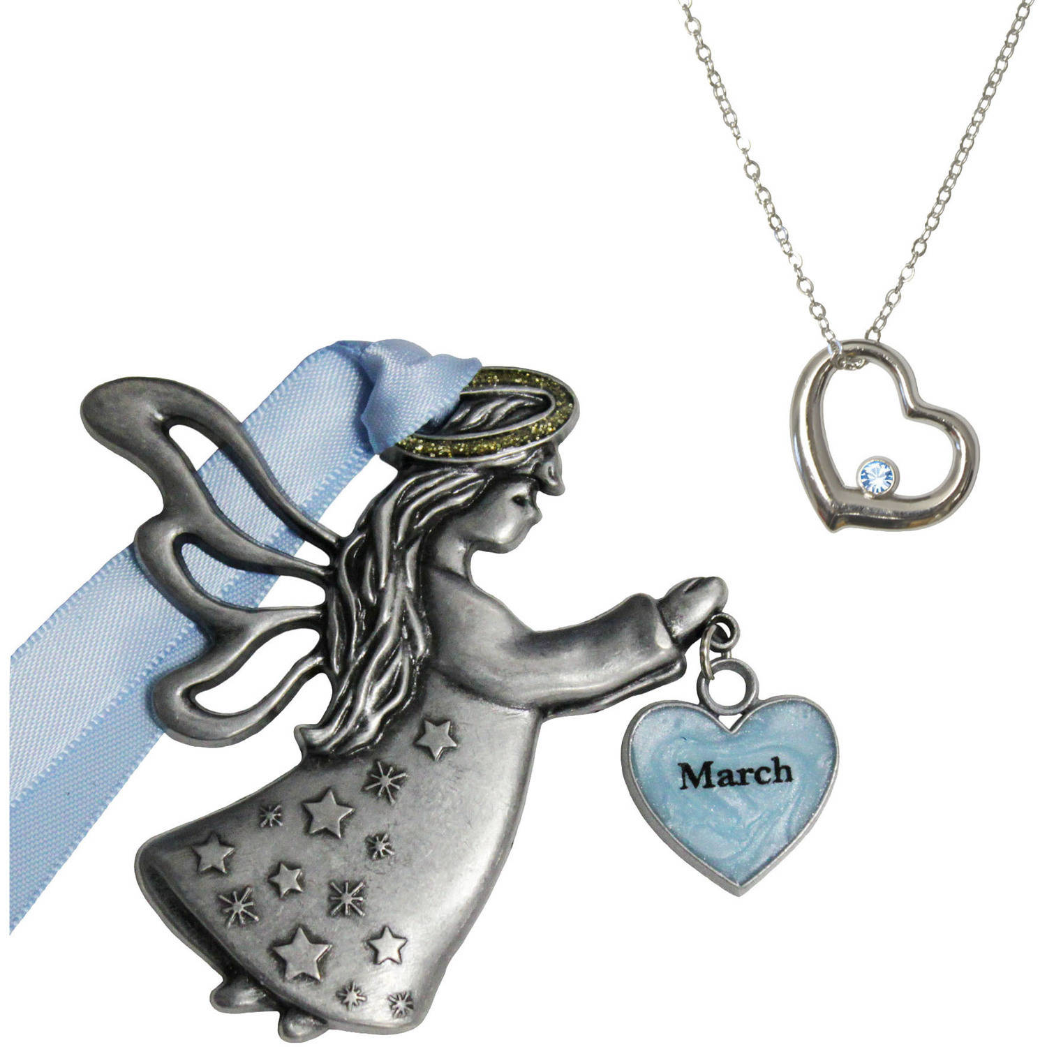 March Birthstone Angel Ornament and Necklace Set