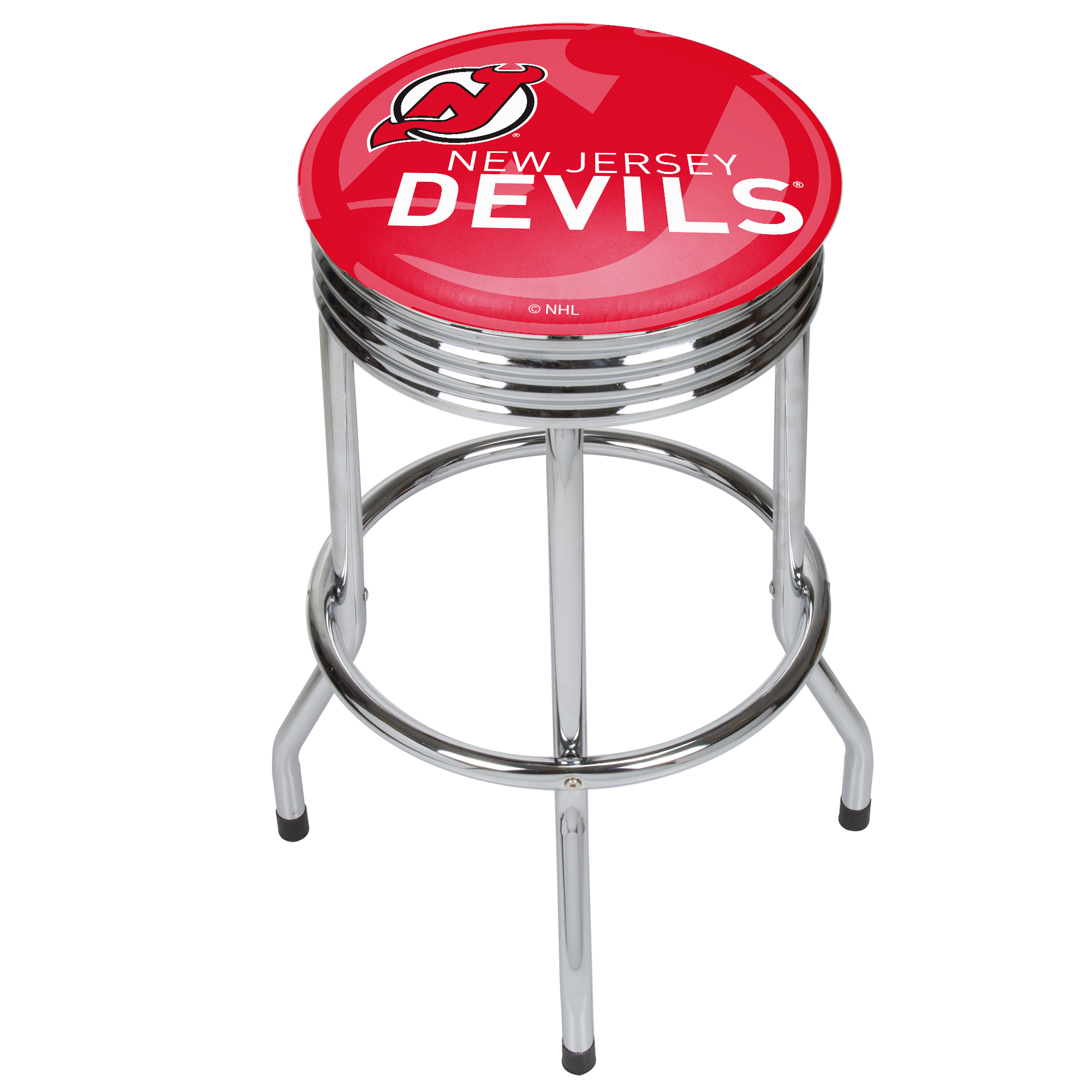 NHL Chrome Ribbed Bar Stool - New Jersey Devils