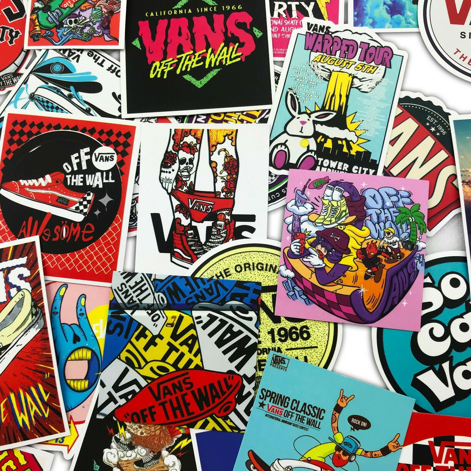 100 PCS VANS OFF THE WALL Logo Decal Sticker Skateboard Laptop Stickers Lot - Walmart.com