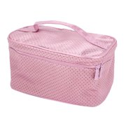 Unique Bargains Ladies Pink Black Hand Strap Beauty Cosmetic Makeup Bag Pouch Organizer W Mirror