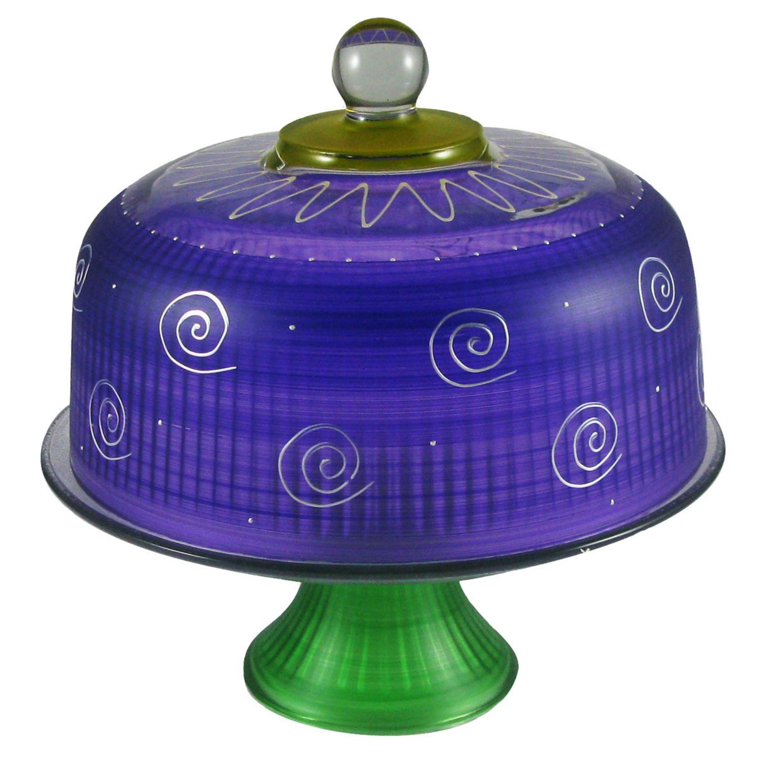 Frosted Purple and White Hand Painted Glass Convertible Cake Dome 11""
