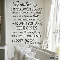 """Family Isn't Always Blood..it's the People in Your Life Who Want You in Theirs…Vinyl Lettering Wall Decal (Black, 21.5""""W x 32""""H)"""