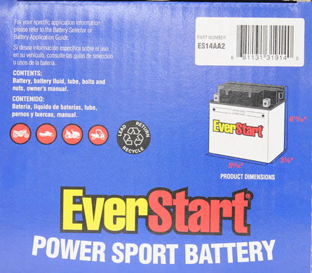 Everstart Powersport Battery Es14aa2 Walmartrhwalmart: Eiger 400 Wiring Diagram Besides Polaris Sportsman 500 At Gmaili.net