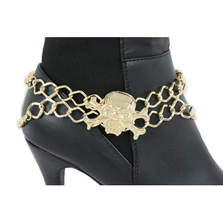 Golf Shoe Charm - New Women Boot Bracelet Gold Metal Chain Anklet Shoe Pirate Skull Charm