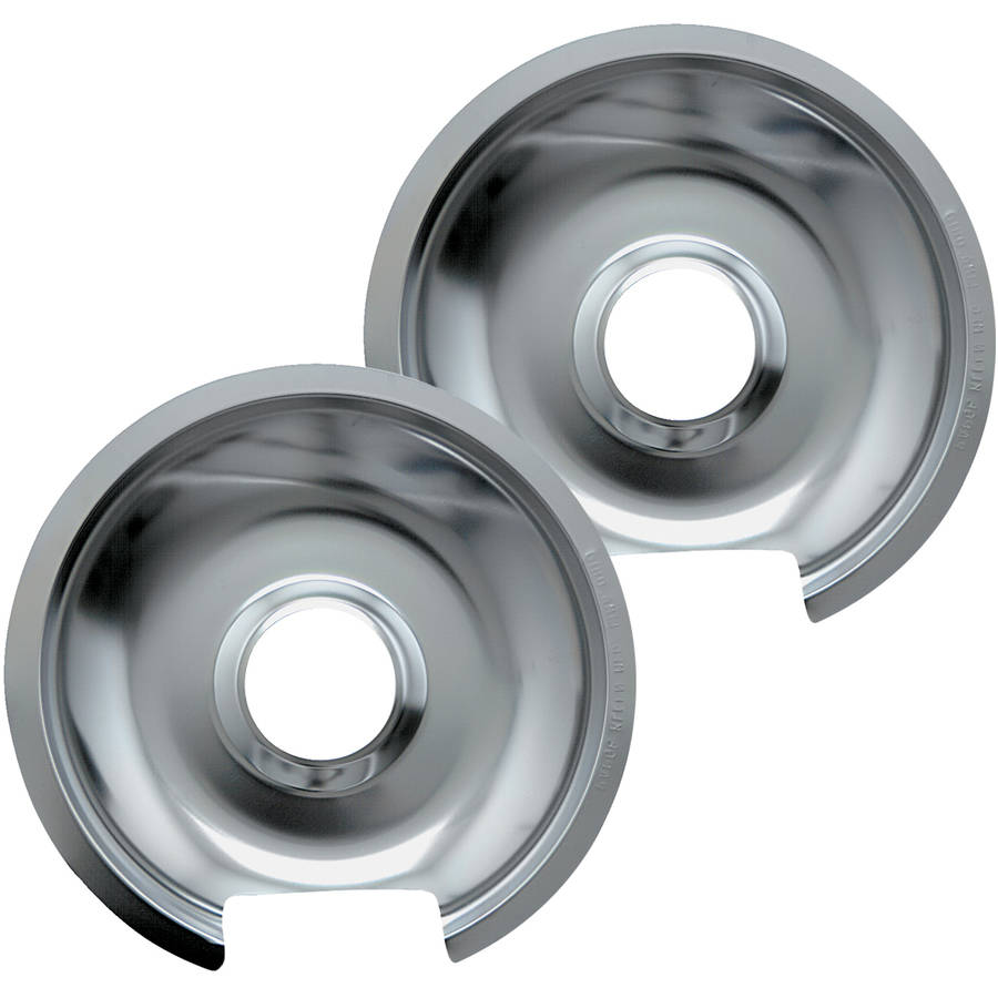 Range Kleen Small Drip Pans, Style D, Chrome, Set of 2