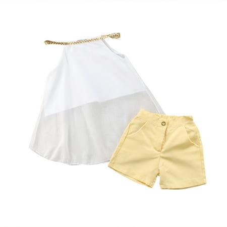 XIAXIAXU Toddler Kids Girl Chiffon Outfits Strap Tops Shorts Summer Clothes Set