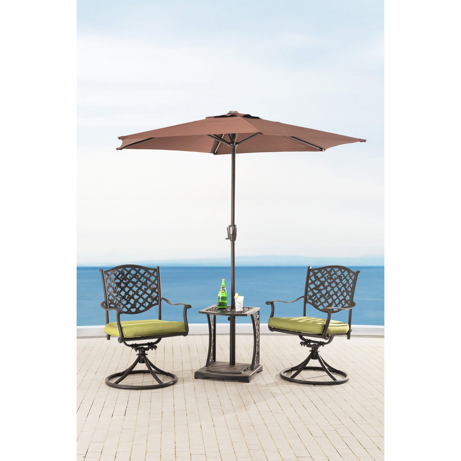 "Sunjoy 110202012 Vining Cast Steel Bistro Set with Green Cushions, 20"" x 19"" x 22"""
